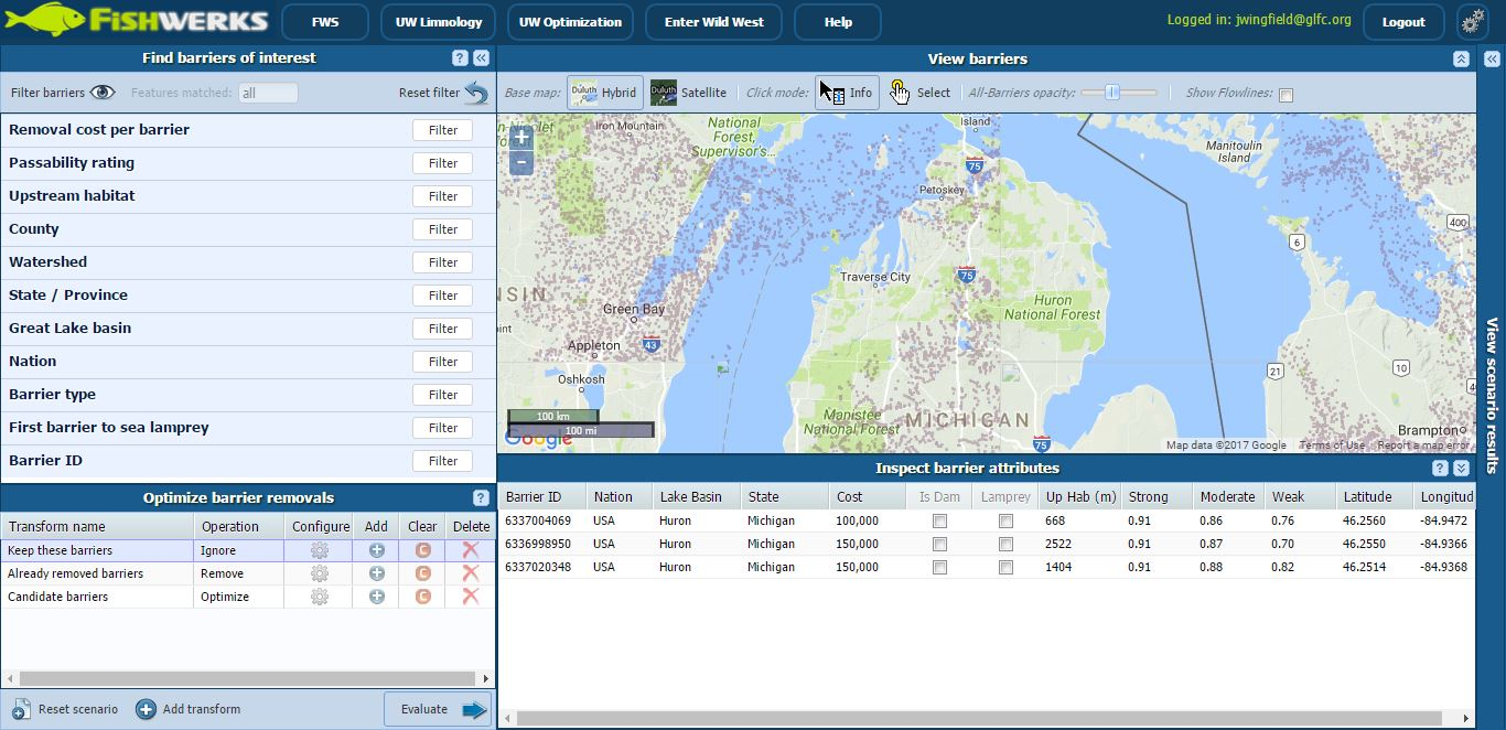 Screenshot of Fishwerks tool.  Shows a map and various data tables.